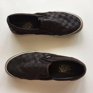 Dark Checkered Slip On Vans